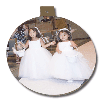 Circle Ornament with two little girls