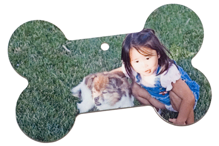 Dog Bone Ornament with Little Girl and Small Dog