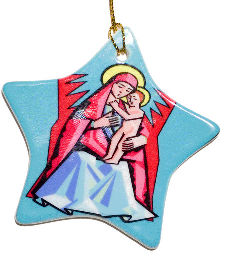Porcelain Star Christmas Ornament Front
