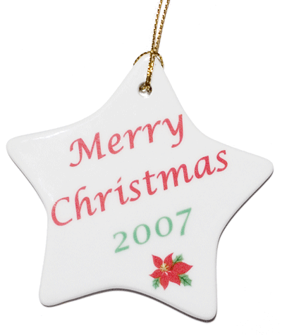 Star Porcelain Christmas Ornament Back