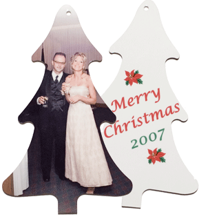 Tree Ornament with newly married couple and blank ornament
