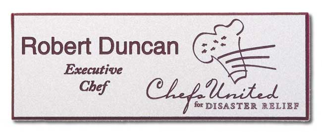 Engrave Nametag - Silver over Burgundy