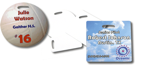 Bag Tags Round, Square and Rectangle